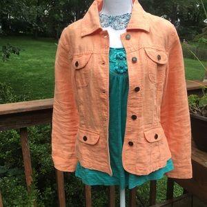 J. Jill Linen Jean Jacket Orange Size SP